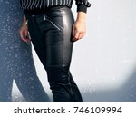 black leather pants | Shutterstock . vector #746109994