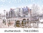 traditional dutch old houses... | Shutterstock . vector #746110861