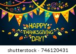 happy thanksgiving day.... | Shutterstock .eps vector #746120431