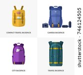 travel backpacks. a set of... | Shutterstock .eps vector #746124505