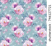seamless watercolor floral... | Shutterstock . vector #746127721