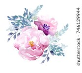 watercolor hand drawn floral...   Shutterstock . vector #746129944