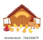 illustration of a hen and her... | Shutterstock .eps vector #746130679