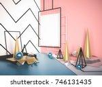 3d render mock up scene with... | Shutterstock . vector #746131435