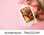 christmas cookies gift box.... | Shutterstock . vector #746132149