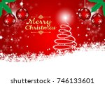red background with snow flake... | Shutterstock .eps vector #746133601