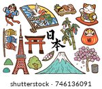 lovely japan symbol collection  ... | Shutterstock .eps vector #746136091