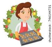 smiling female baker in kitchen ... | Shutterstock .eps vector #746144731