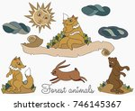 stylized wild forest animals on ... | Shutterstock .eps vector #746145367