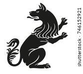 heraldic pet dog or wolf animal ... | Shutterstock .eps vector #746152921