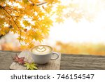 cup of coffee latte art on old... | Shutterstock . vector #746154547