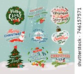 set of isolated new year banner ... | Shutterstock .eps vector #746157571
