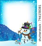 snowman with christmas lights... | Shutterstock .eps vector #746158381