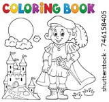 coloring book prince and castle ... | Shutterstock .eps vector #746158405