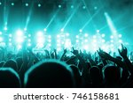 concert crowd. silhouettes... | Shutterstock . vector #746158681