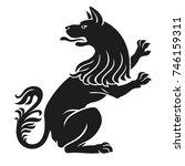 heraldic pet dog or wolf animal ...   Shutterstock . vector #746159311