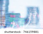 double exposure of stacks of... | Shutterstock . vector #746159881