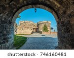 fortress gate with a wooden...   Shutterstock . vector #746160481