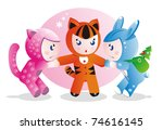 Children in costumes for the eastern calendar years - the tiger, the rabbit and the cat. - stock photo