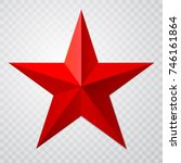 red star 3d icon with shadow on ... | Shutterstock .eps vector #746161864