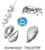 seafood sketches set. cooked... | Shutterstock .eps vector #746167789