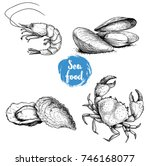 seafood sketches set. fresh... | Shutterstock .eps vector #746168077