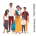 large family portrait. indian... | Shutterstock . vector #746170309