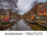 evening city view of amsterdam  ... | Shutterstock . vector #746172175