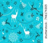 christmas seamless pattern... | Shutterstock .eps vector #746174305