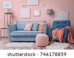 modern living room interior... | Shutterstock . vector #746178859