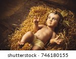 christmas greeting card  baby... | Shutterstock . vector #746180155