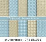 set of seamless line patterns.... | Shutterstock .eps vector #746181091