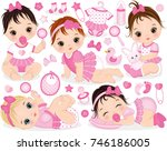 vector set with cute baby girls ... | Shutterstock .eps vector #746186005