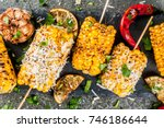 summer food. ideas for barbecue ... | Shutterstock . vector #746186644