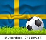sweden flag and soccer ball | Shutterstock .eps vector #746189164