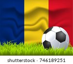 romania flag and soccer ball | Shutterstock .eps vector #746189251