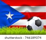 puerto rico flag and soccer ball | Shutterstock .eps vector #746189374
