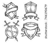 sketch blank or empty shields... | Shutterstock .eps vector #746190679