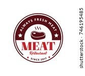 meat logo with meat symbol... | Shutterstock .eps vector #746195485