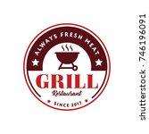 grill logo symbol vintage style ... | Shutterstock .eps vector #746196091