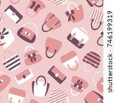 woman bags seamless pattern.... | Shutterstock . vector #746199319