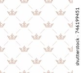 seamless pattern with crown... | Shutterstock . vector #746199451