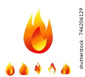 fire icon set. sign of the... | Shutterstock .eps vector #746206129