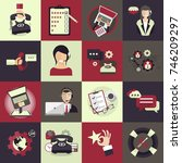 support service icon set.... | Shutterstock .eps vector #746209297