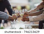 hands of group of people... | Shutterstock . vector #746213629