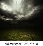 Dark Storm Clouds Over Meadow...