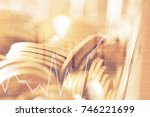 double exposure rows of coins... | Shutterstock . vector #746221699