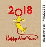 yellow dachshund puppy with red ... | Shutterstock .eps vector #746222335