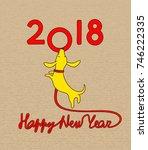 yellow dog  symbol of new year... | Shutterstock .eps vector #746222335