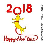 Stock vector yellow dog symbol of new year dachshund puppy with dog lead in shape of lettering happy new 746225089